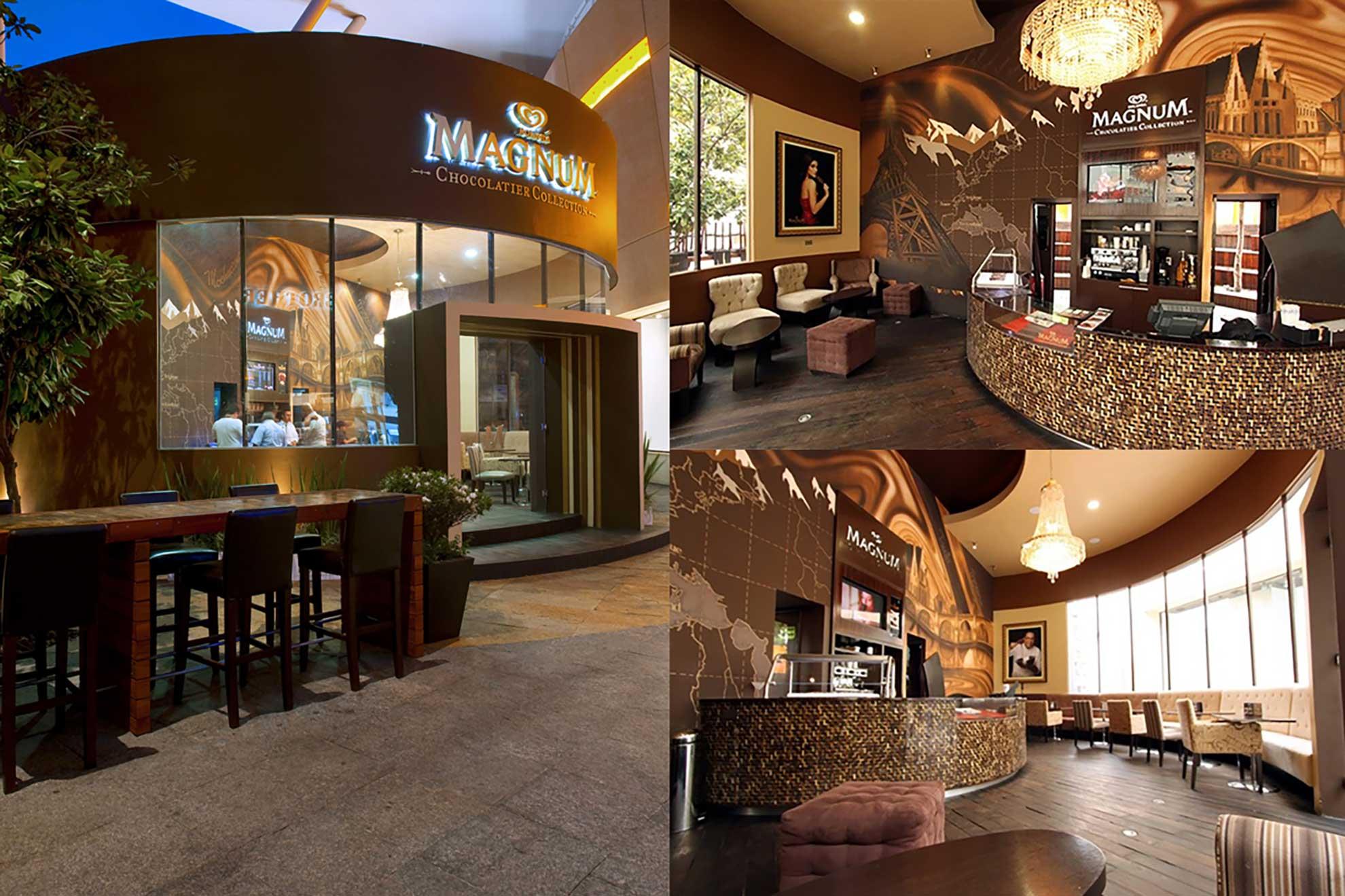 La heladería boutique de Magnum fue diseñada y creada inspirándose en todos los sabores y texturas que representan a las paletas de la marca, sillones decorados a mano con la palabra magnum y otros que evocan a los códigos de barras de las envolturas.