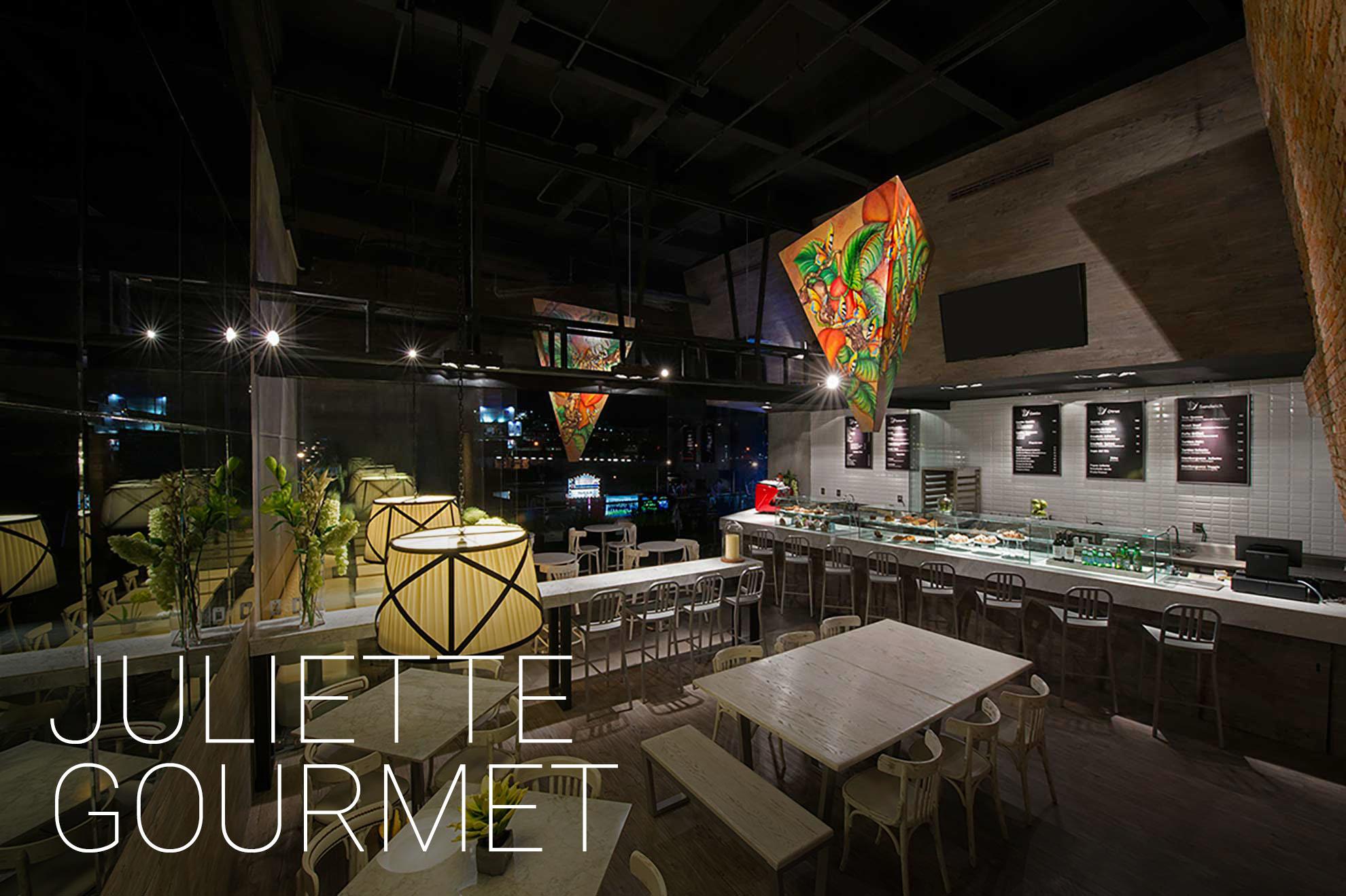 Juliette Gourmet es un restaurante de comida internacional ubicado en Sant Fe, con muebles de diseño creados por el despacho de arquitectura de interiores de Depa 102