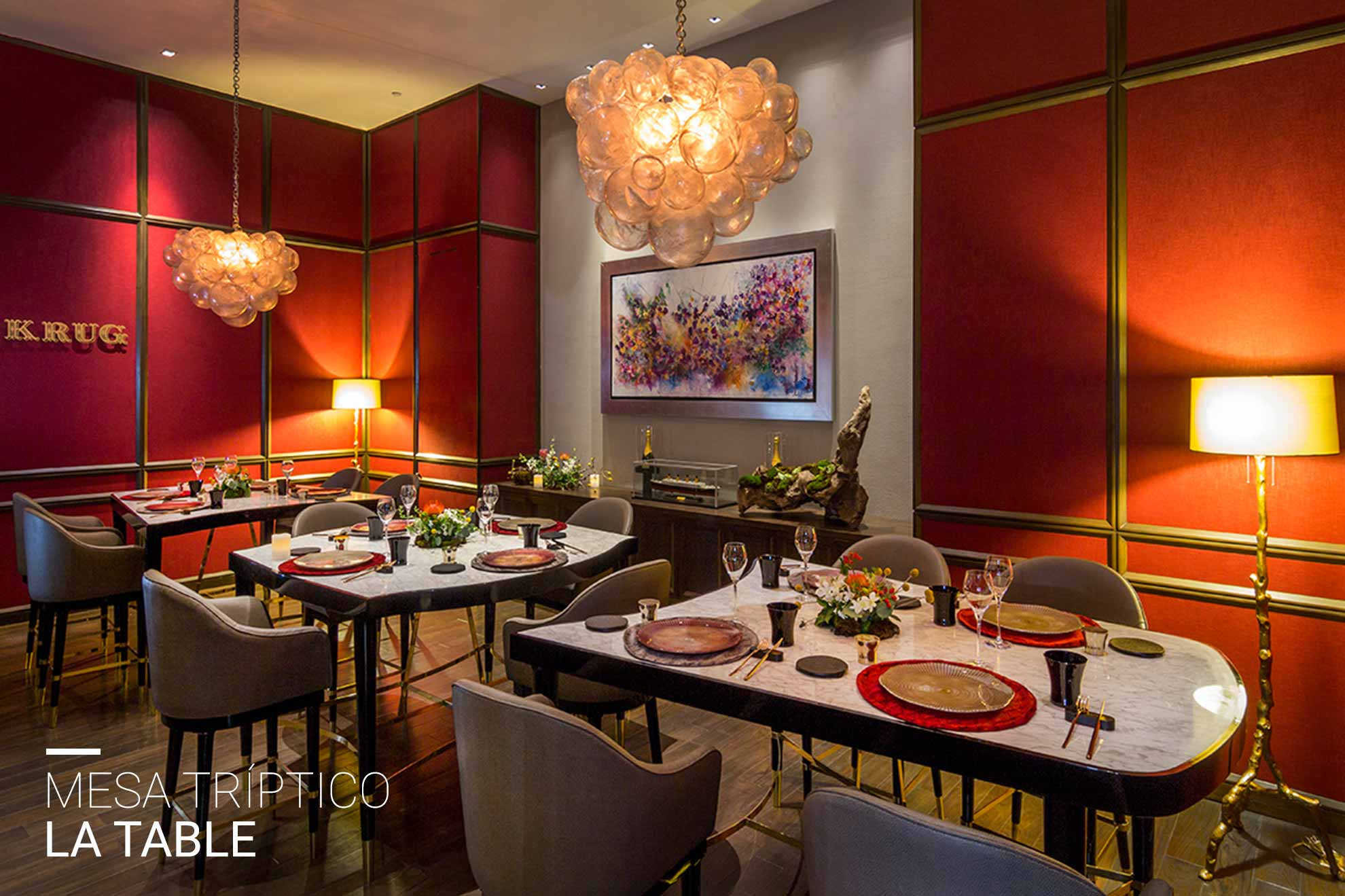 Mesa tríptico La Table para 12 comensales, ubicada en l hotel St.Regis México, creada por Depa 102